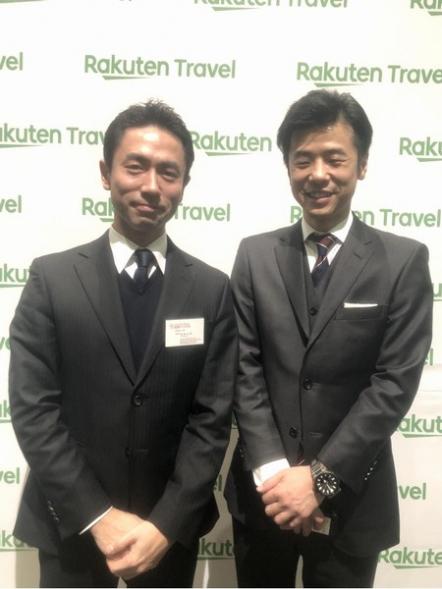 楽天トラベルの事業長とフロント佐枝で記念写真☆